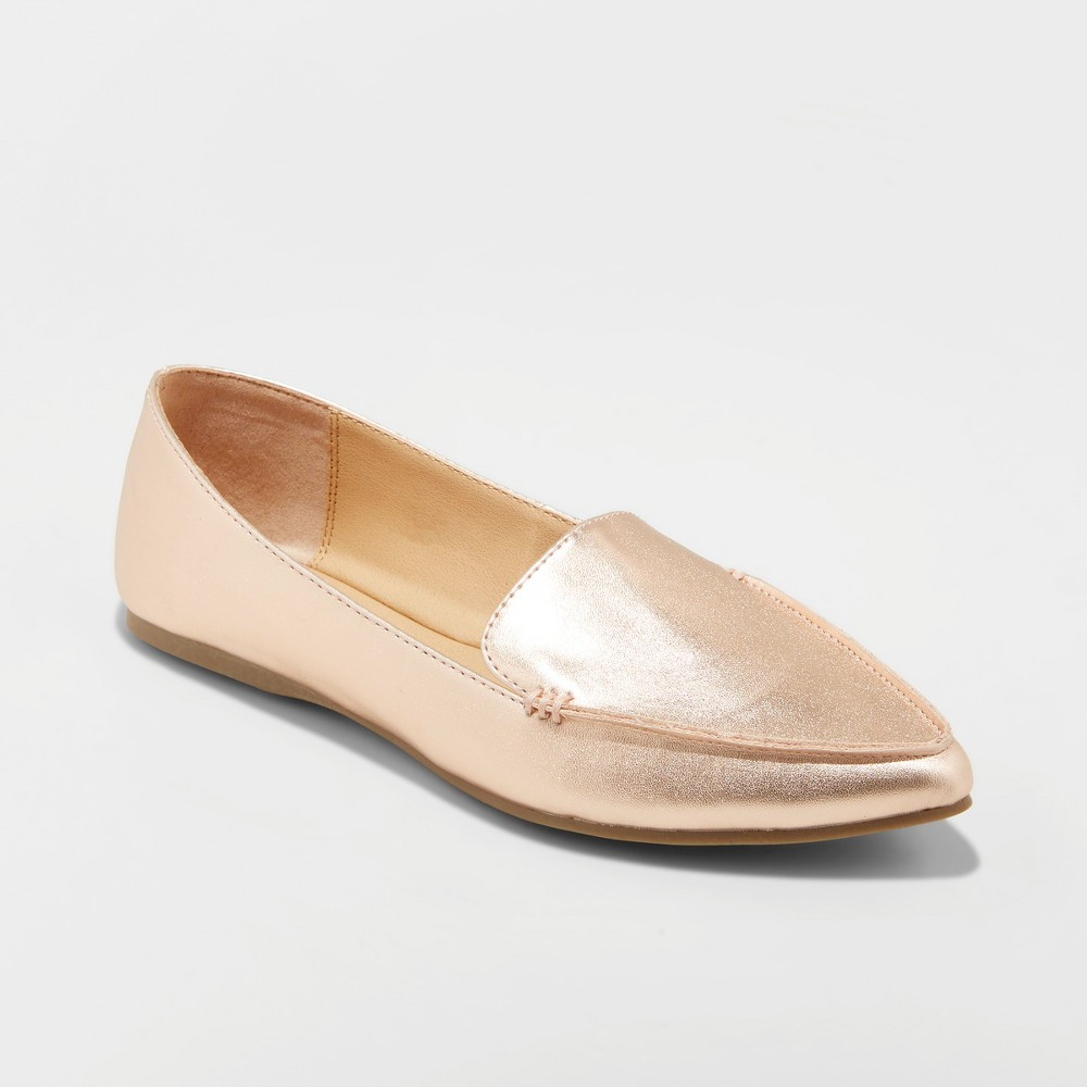 Women's Micah Pointed Toe Closed Loafers - A New Day Rose Gold 5, Pink