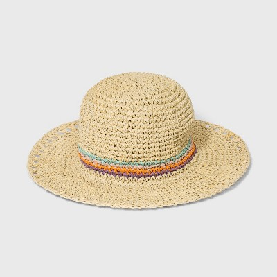 Girls' Panama Straw Striped Hat - art class™ Tan