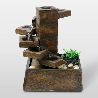 "11"" Eternity Tabletop Fountain Tiered Stone - Alpine Corporation"