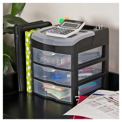 Bon Sterilite 3 Drawer Desktop Storage Unit   Black : Target