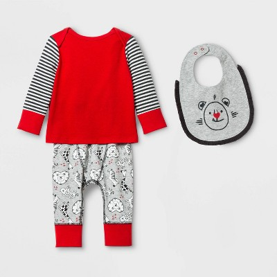 Baby Boys' 3pc Long Sleeve Valentine's Bib Playwear Set - Cat & Jack™ 6-9M Gray/Red