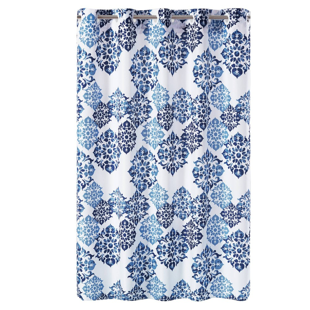 Image of Alessandra Medallion Shower Curtain with Liner Blue - Hookless