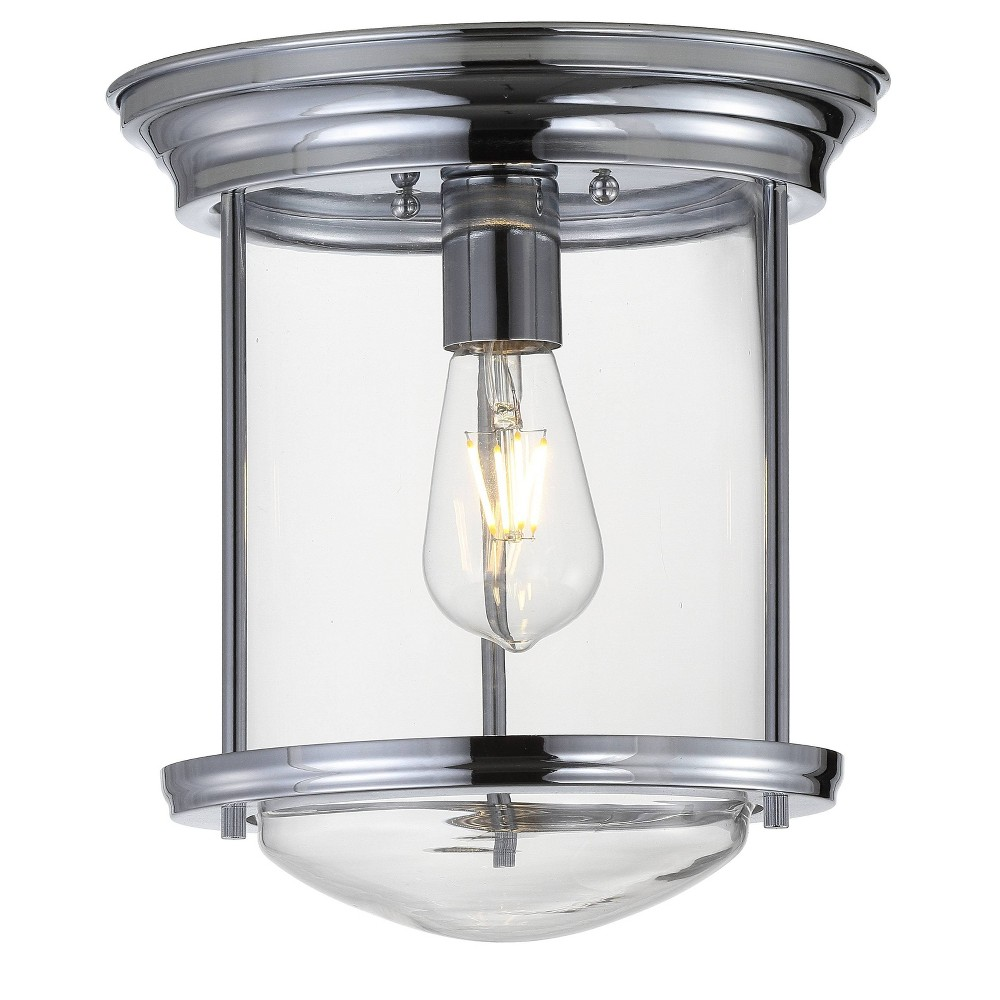 "Image of ""10.25"""" Savannah Metal/Glass LED Flush Mount Chrome (Includes Energy Efficient Light Bulb) - JONATHAN Y"""