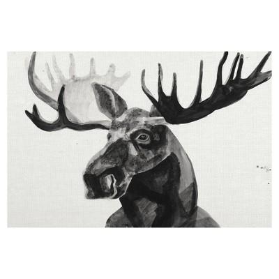24 x36  Watercolor Moose By Ben Gordon Art On Canvas Black - Fine Art Canvas