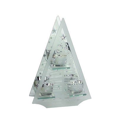 "Ganz 10"" Frosted Glass Mirrored Christmas Tree Tea Light Candle Holder - Clear/Silver"