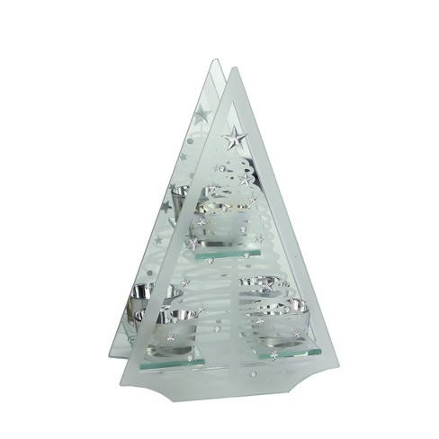 """Ganz 10"""" Frosted Glass Mirrored Christmas Tree Tea Light Candle Holder - Clear/Silver - image 1 of 2"""