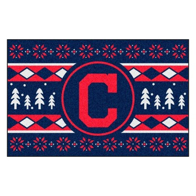 """MLB Cleveland Indians 19""""x30"""" Holiday Sweater Rug"""