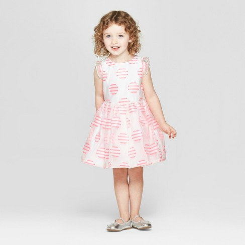 Toddler Girls' Dotted A Line Dress - Cat & Jack™ Cream/Pink - image 1 of 3