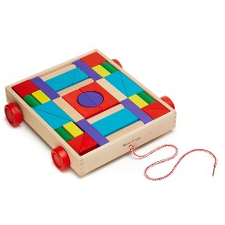 Melissa & Doug Unit Blocks on Wheels - 36 Solid Wood Blocks with Pull-Along Cart on Wheels