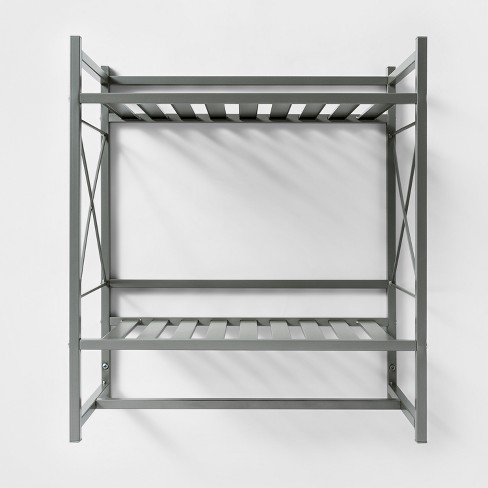 Square Tube Decorative Wall Shelf Brushed Nickel - Threshold™ - image 1 of 2