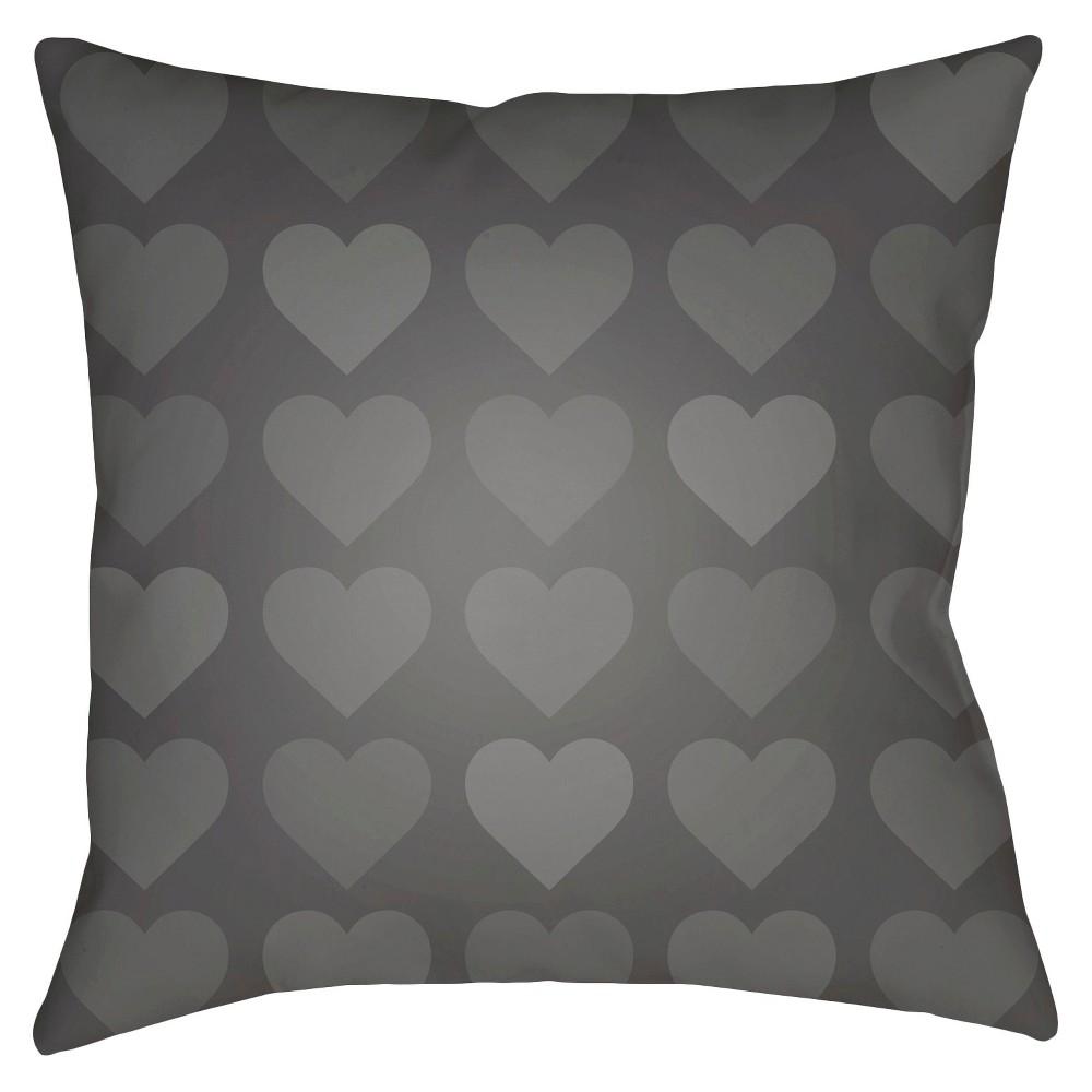 Dark Gray Hearts Print Throw Pillow 20