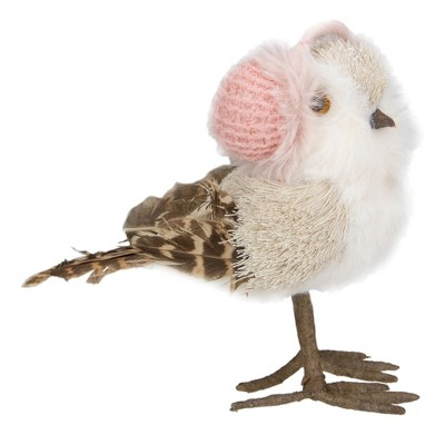 "Northlight 6.25"" Winter Bird in Pink Earmuffs Tabletop Christmas Decoration"