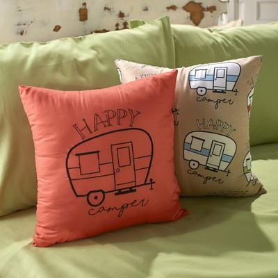Lakeside Happy Campers Embroidered Throw Pillows with Retro Trailer - Set of 2