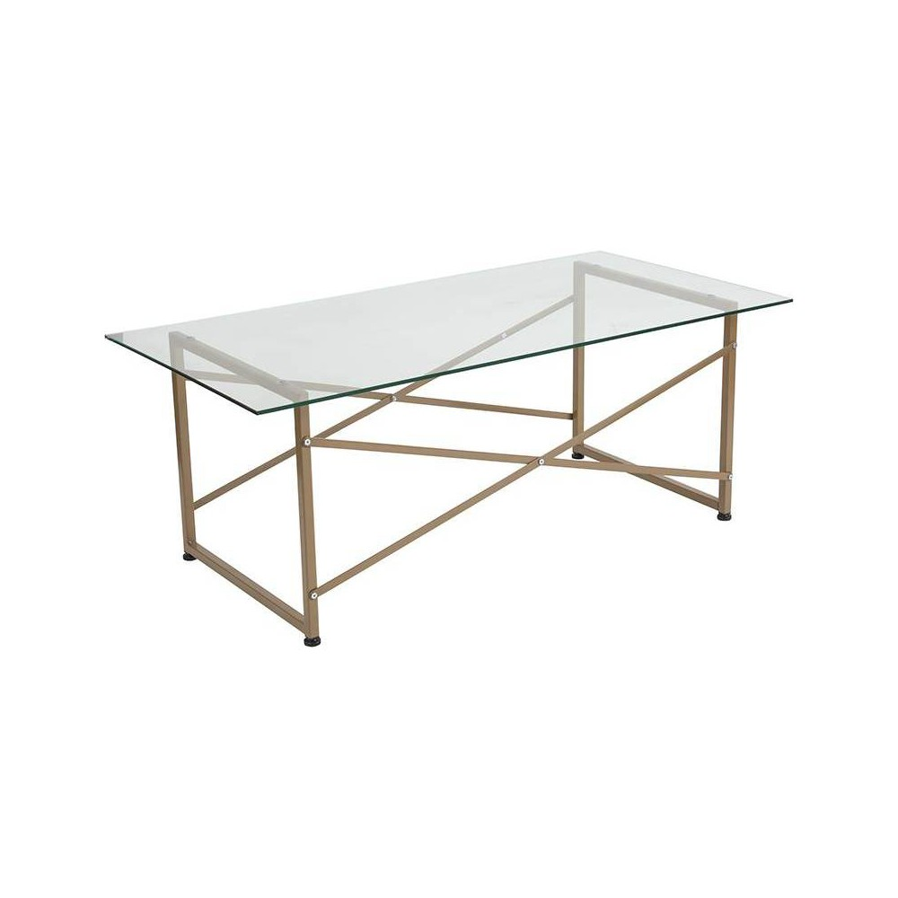 Mar Glass Coffee Table Gold - Riverstone Furniture