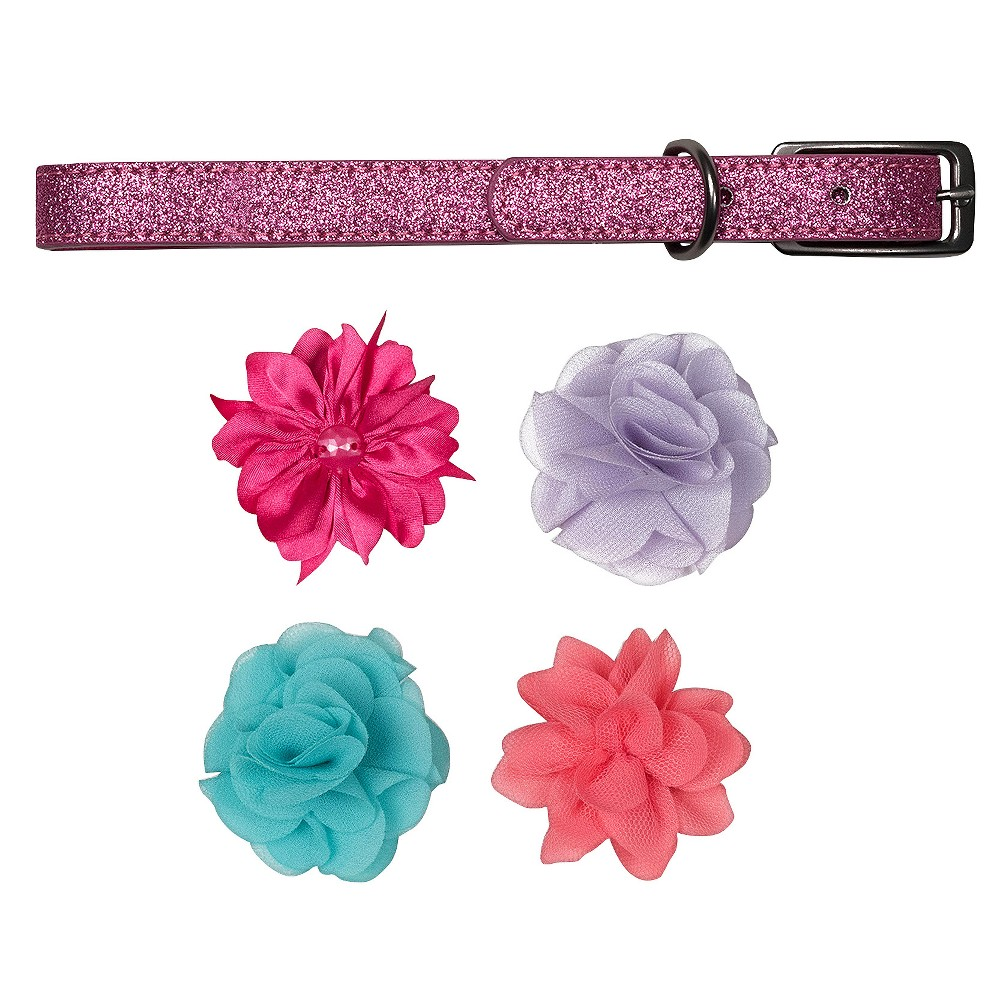 Bow & Arrow Pink Glitter with Flower Accessories Dog Collar - L