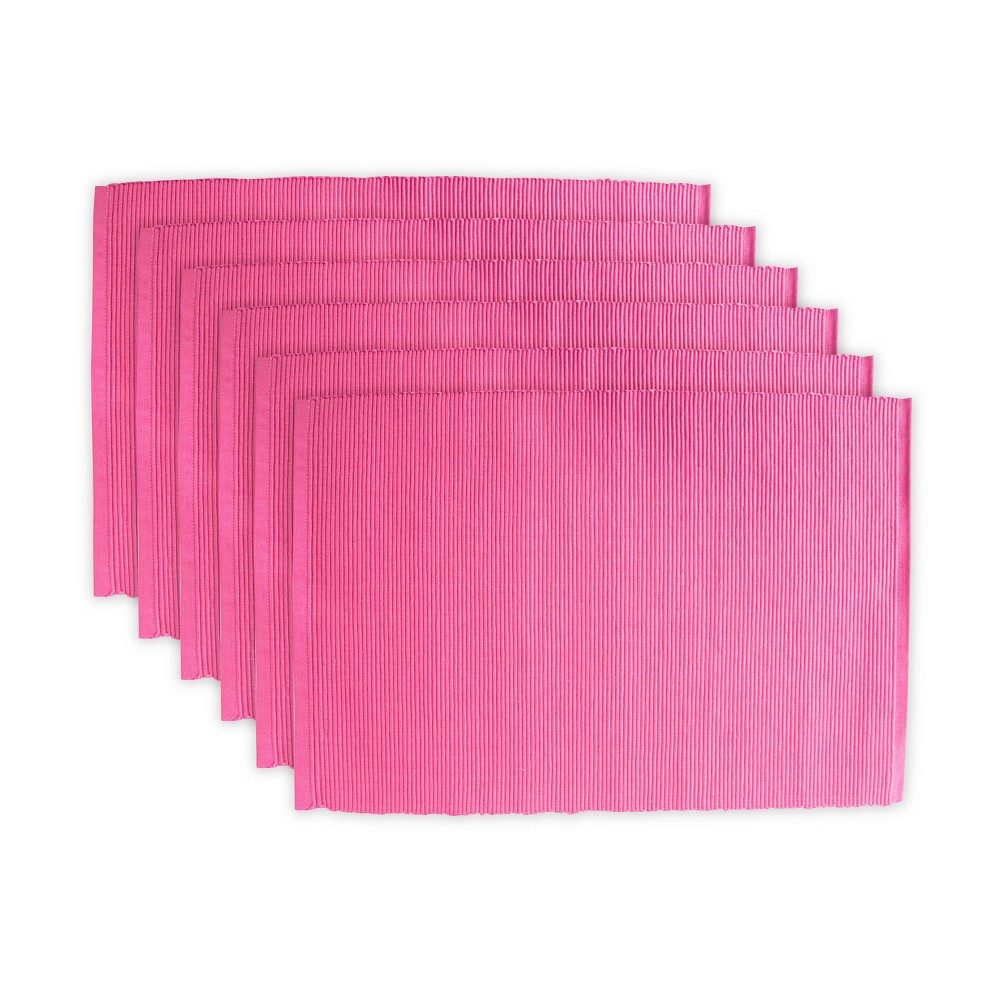 Set of 6 Ribbed Placemat Pink - Design Imports