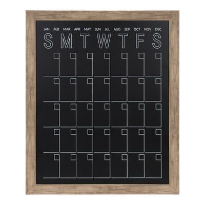 """27"""" x 33"""" Beatrice Framed Vertical Magnetic Chalkboard Calendar Rustic Brown - DesignOvation"""