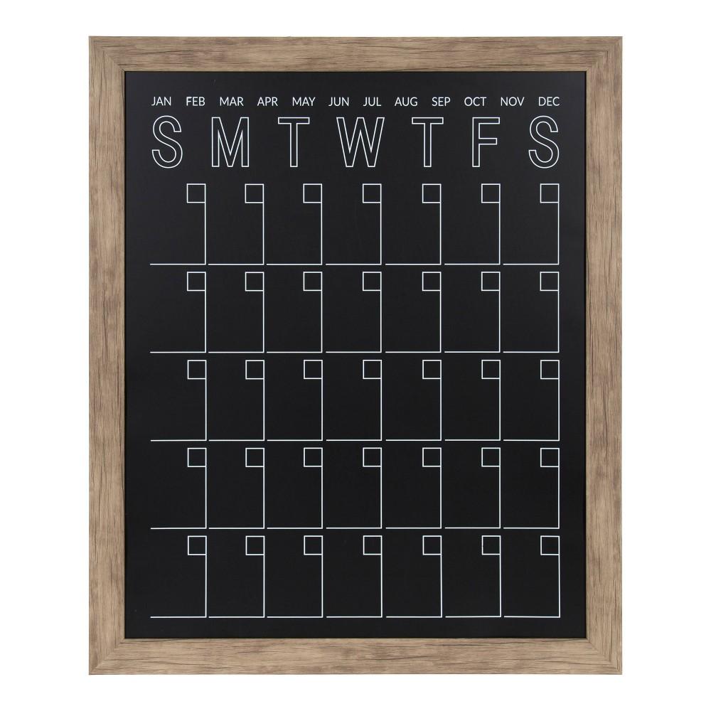27 34 X 33 34 Beatrice Framed Vertical Magnetic Chalkboard Calendar Rustic Brown Designovation