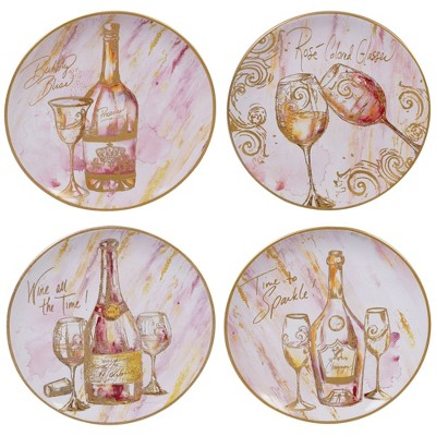 11  4pk Earthenware Wine All the Time Dinner Plates White - Certified International