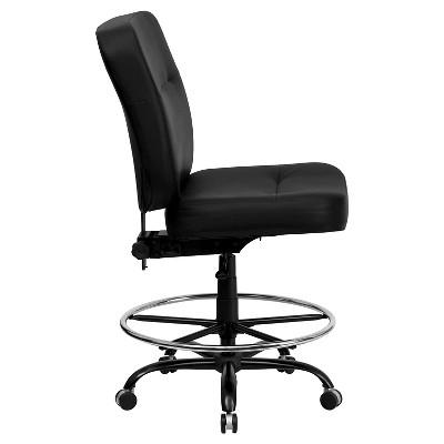 Capacity Big U0026 Tall Drafting Chair Black Leather   Flash Furniture : Target