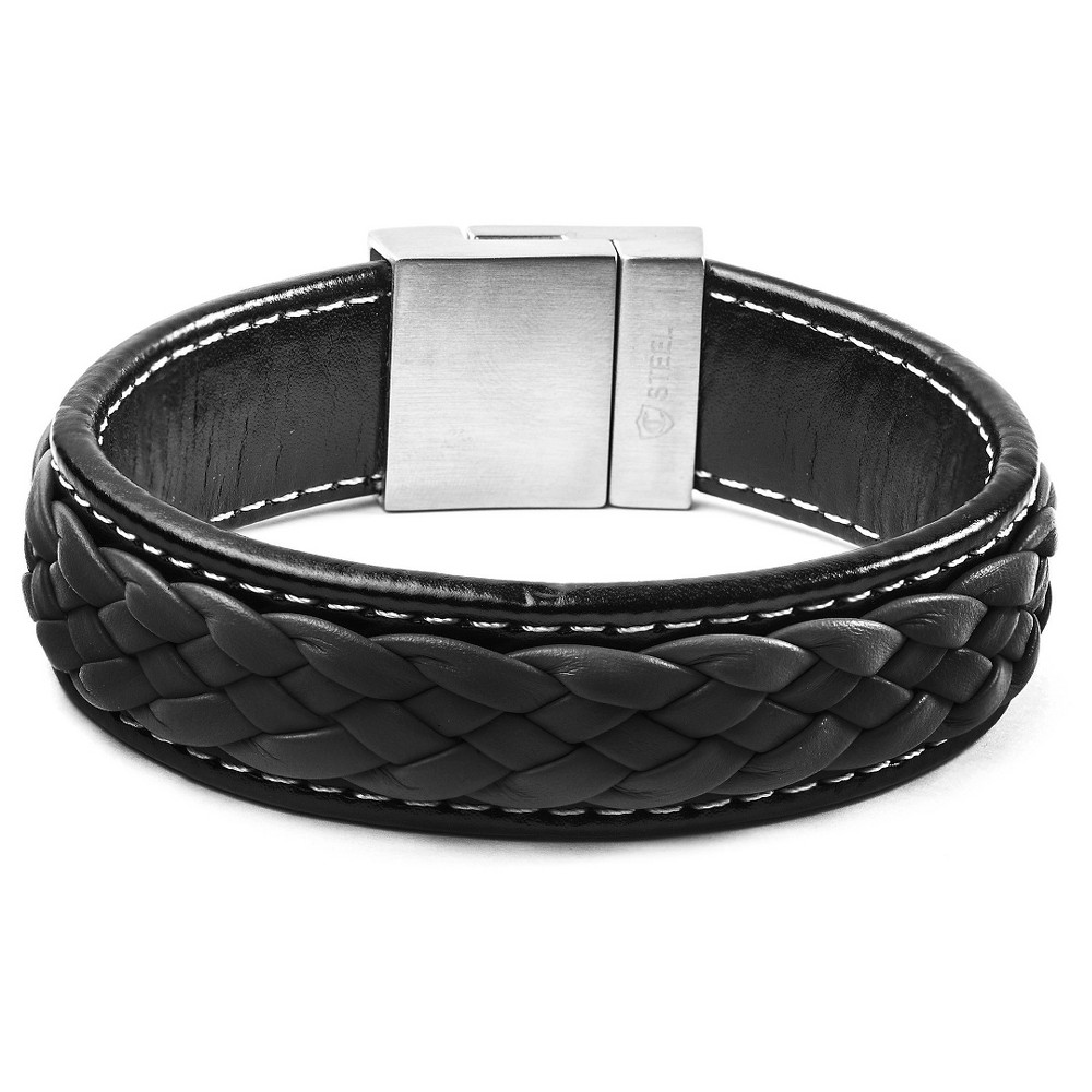 Image of Men's Crucible Black and Charcoal Stainless Steel Braided Leather Bracelet, Size: Small