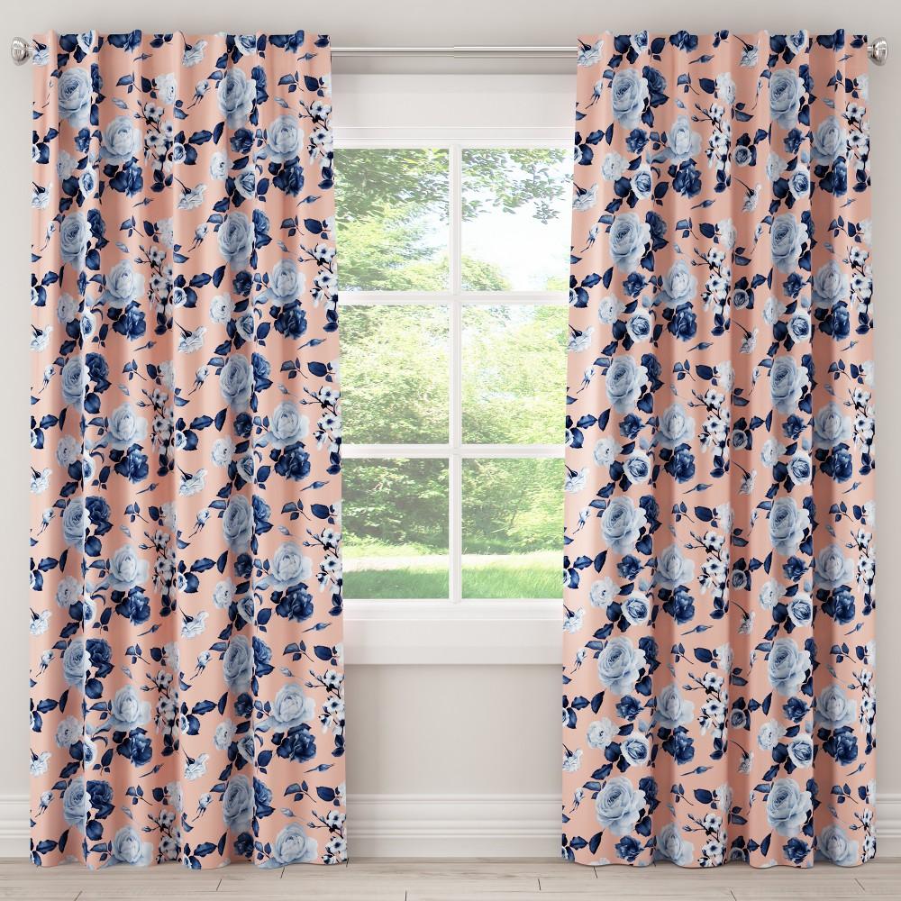 Blackout Curtain Soft Floral Porcelain Blush 120L - Cloth & Co., Pink