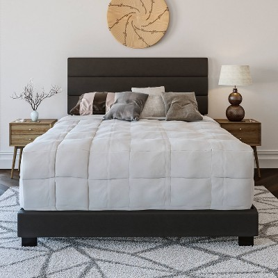 King Caprice Faux Leather Channel Upholstered Platform Bed Black - Eco Dream