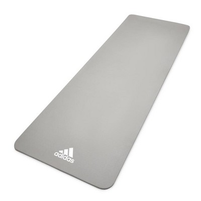 Adidas ADYG-10100GR Universal Exercise Roll Up Slip Resistant Fitness Pilates and Yoga Mat, 8mm Thick, Grey