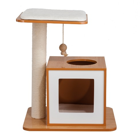 Elegant Home Fashion My Buddy's Scratch Post House Cat Tower - White/Natural - image 1 of 11