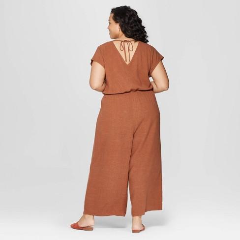 1963475cae1d Women s Plus Size Short Sleeve V-Neck Jumpsuit - Universal Thread™ Brown 2X    Target