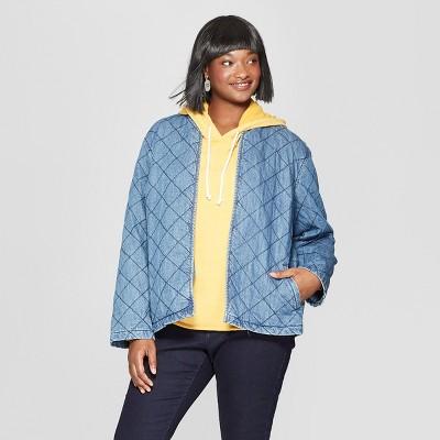 88db23c014 Women s Plus Size Long Sleeve Quilted Denim Jacket - Universal Thread™  Medium Wash