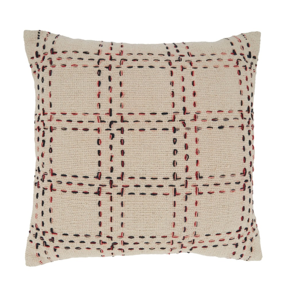 20 34 X20 34 Oversized Stitched Checked Design Square Pillow Cover Natural Saro Lifestyle