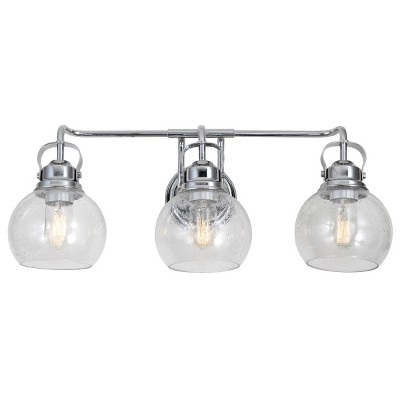 "24"" Metal/Bubbled Glass Shirley Vanity Wall Light Chrome - JONATHAN Y"