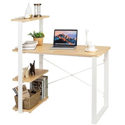 Costway Reversible Computer Desk Study Table Home Office w/Adjustable Bookshelf Natural