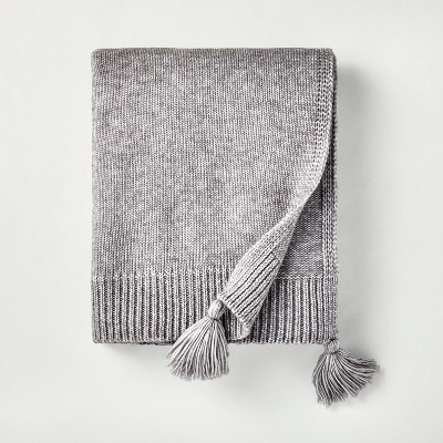 Sweater Knit Tassels Throw Blanket Gray - Hearth & Hand™ with Magnolia