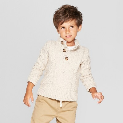 Toddler Boys' Long Sleeve Mock Neck Pullover Sweater - Cat & Jack™ Oatmeal Heather 12M