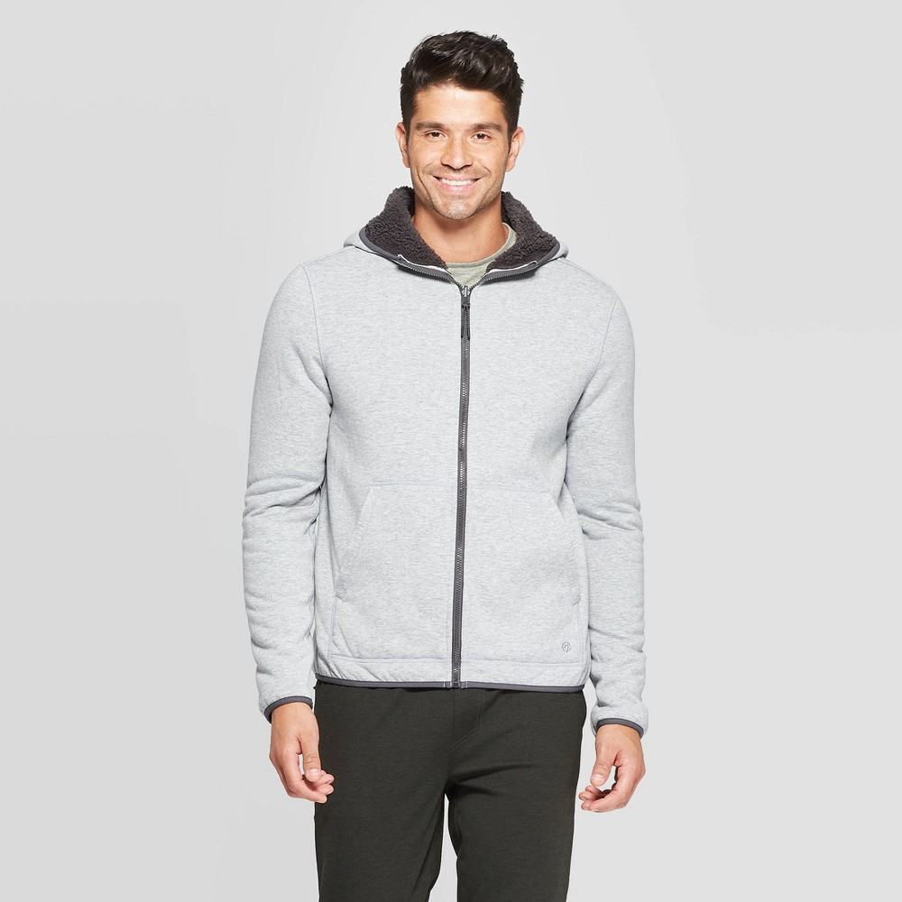 Image of Men's Full Zip Sherpa Fleece Jacket - C9 Champion Concrete Heather/New Charcoal L, Men's, Size: Large, Concrete Grey/New Grey