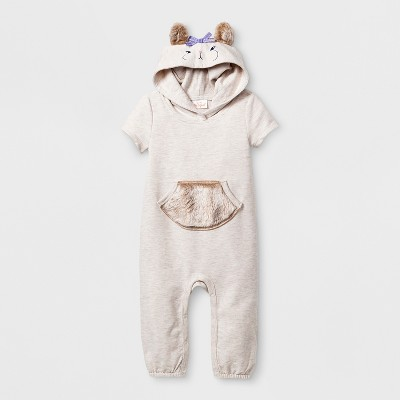 Baby Girls' Squirrel Hoodie Romper with Faux Fur Tail - Cat & Jack™ Tan 3-6M