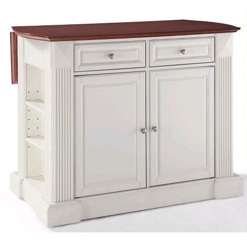 Wood Kitchen Island Breakfast Bar in White - Pemberly Row - image 1 of 4