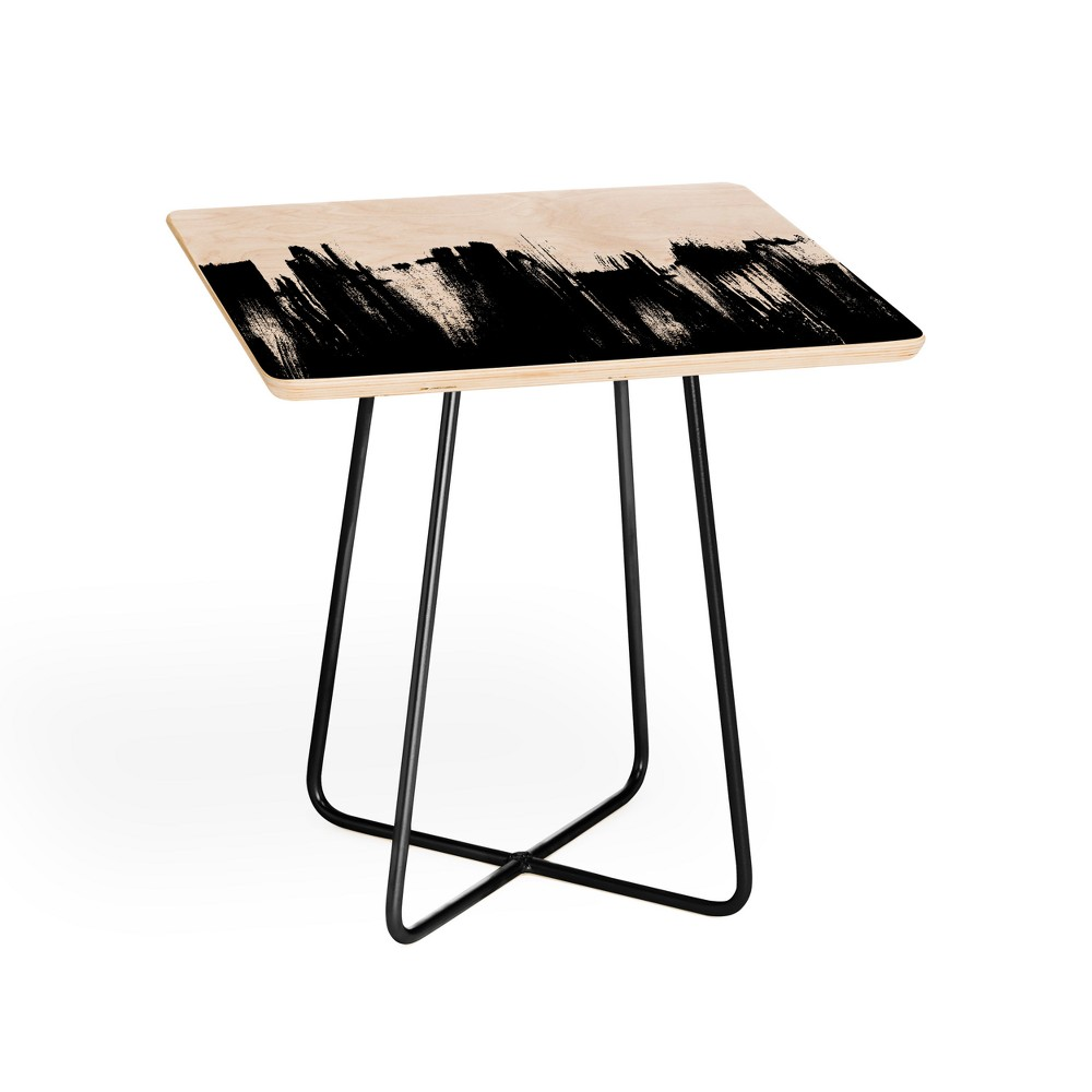 Kelly Haines Monochrome Brushstrokes Side Table Black and White - Deny Designs