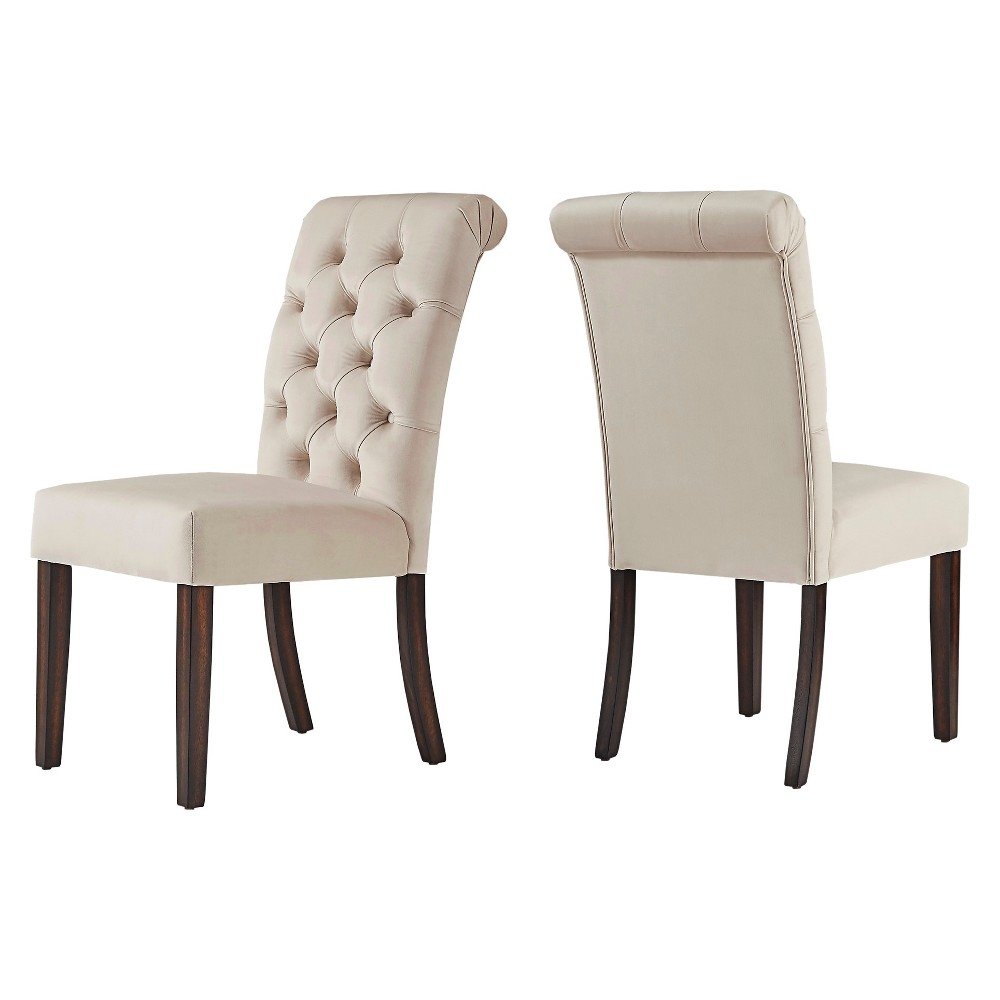 Grammercy Velvet Button Tufted Dining Chair set of 2 Beige - Inspire Q