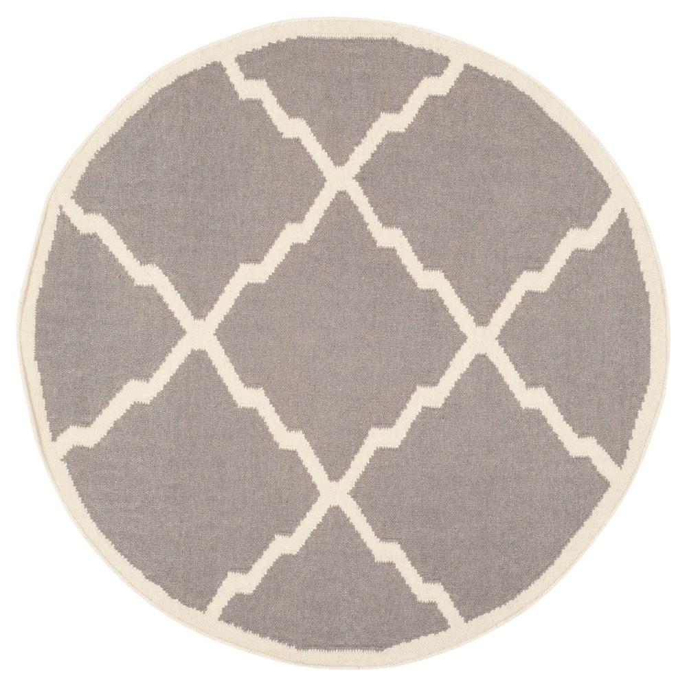 Buy Dhurries Rug - Gray Ivory - (4x4 Round) - Safavieh