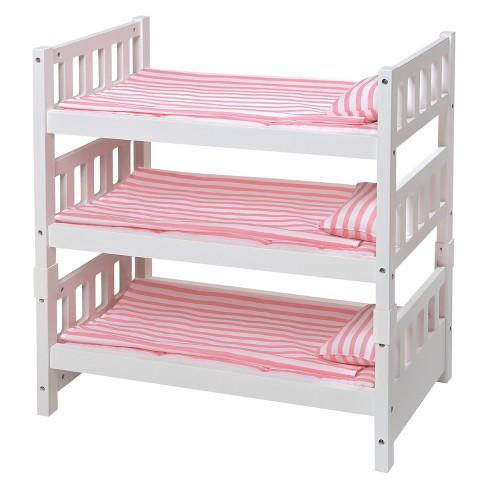 Badger Basket 1 2 3 Convertible Doll Bunk Bed With Bedding Pink Stripe Target