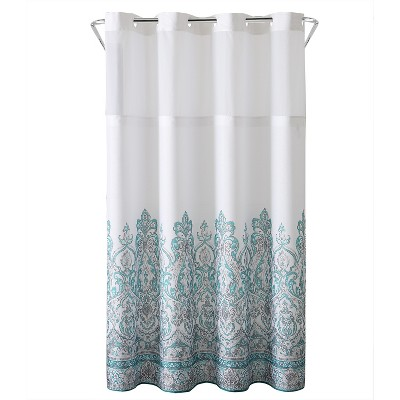 Damask Border Shower Curtain with Liner Teal - Hookless