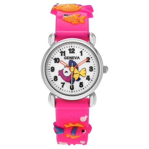 Unisex Geneva Platinum Kid's Fish and Seahorse Silicone Strap Watch - Pink - image 1 of 3