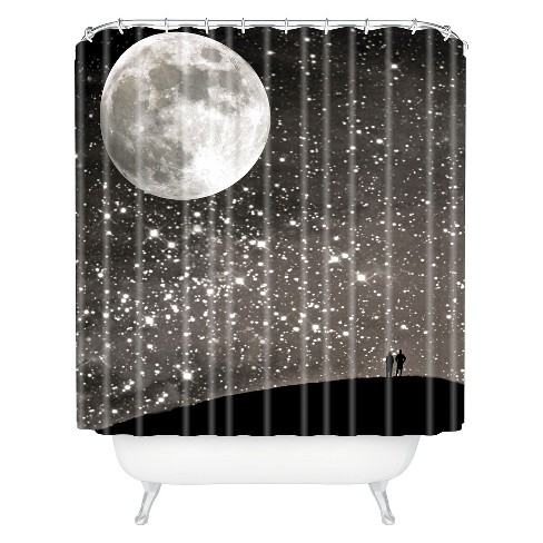 Love Under The Stars Shower Curtain Black