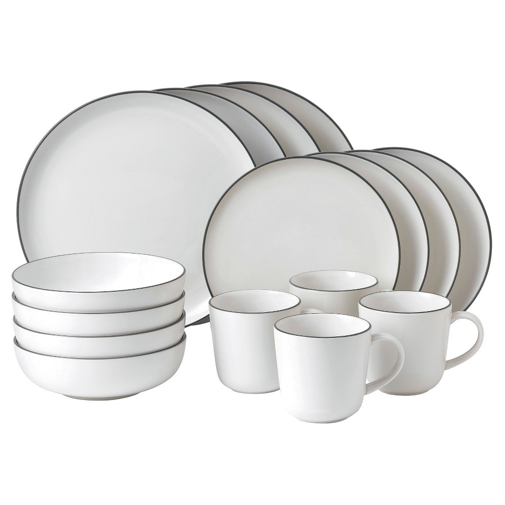 Image of Gordon Ramsay by Royal Doulton Bread Street Stoneware 16pc Dinnerware Set White, Gray White