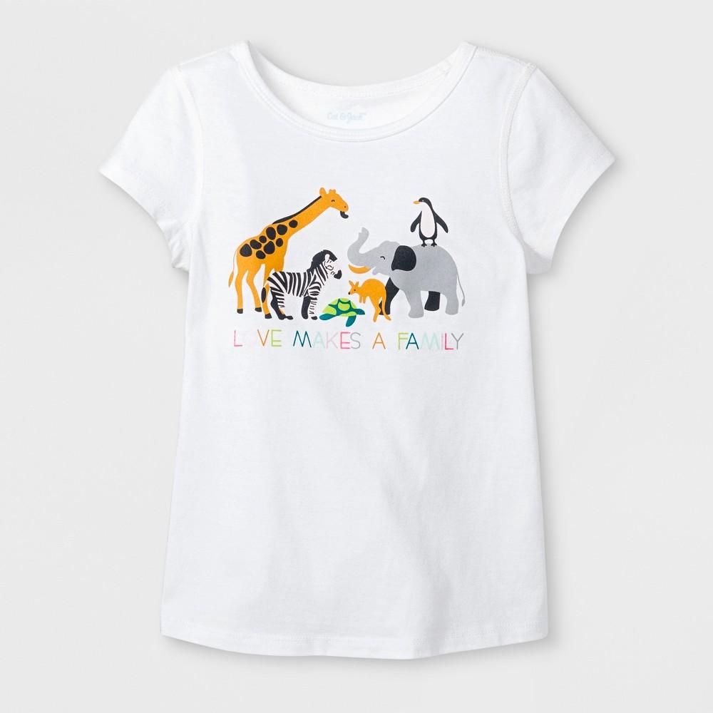 Toddler Girls' Adaptive Short Sleeve Animals Graphic T-Shirt - Cat & Jack White 4T