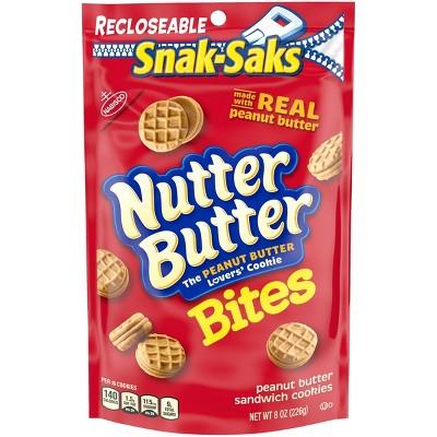 Nutter Butter Bites Mini Peanut Butter Sandwich Cookies - Snak-Saks - 8oz