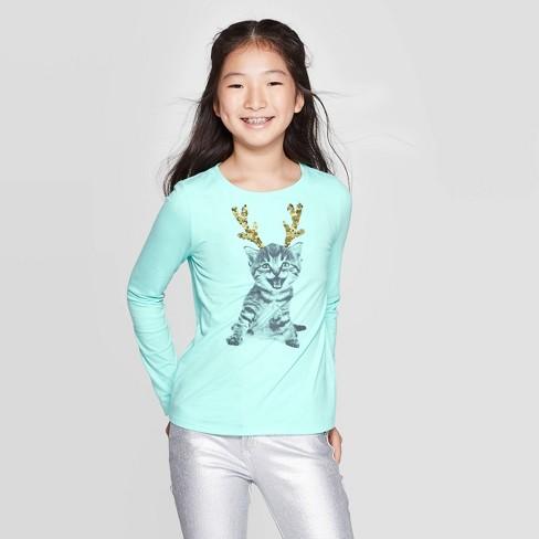 Girls' Long Sleeve Flip Sequin Cat T-Shirt - Cat & Jack™ Mint - image 1 of 4